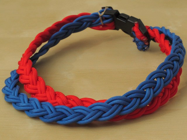 Parachute Braided Cord Necklace in Red & Blue