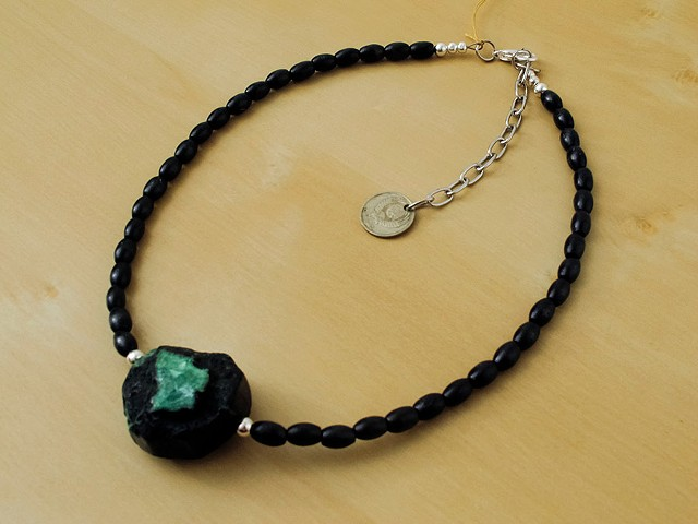 Green Agate with Black Wood Beads