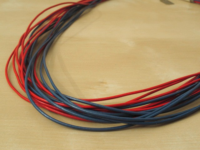 Red & Blue Leather Cord Necklace - 16 Strands