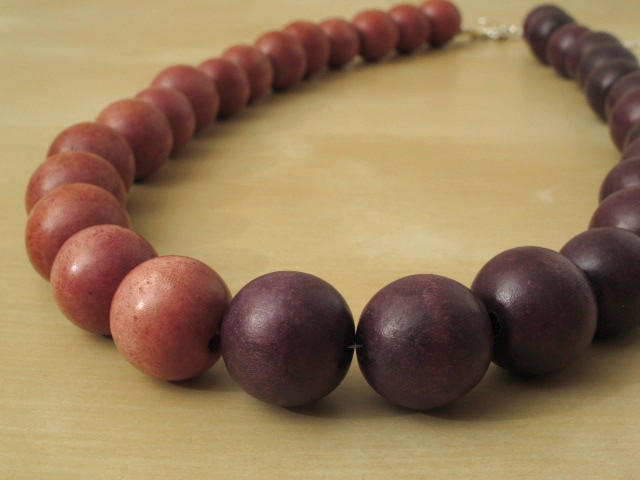 South Sea Wood Necklace in Pink & Purple