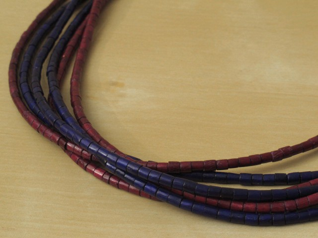 Dark Red & Blue Wood Necklace - 6 Strands