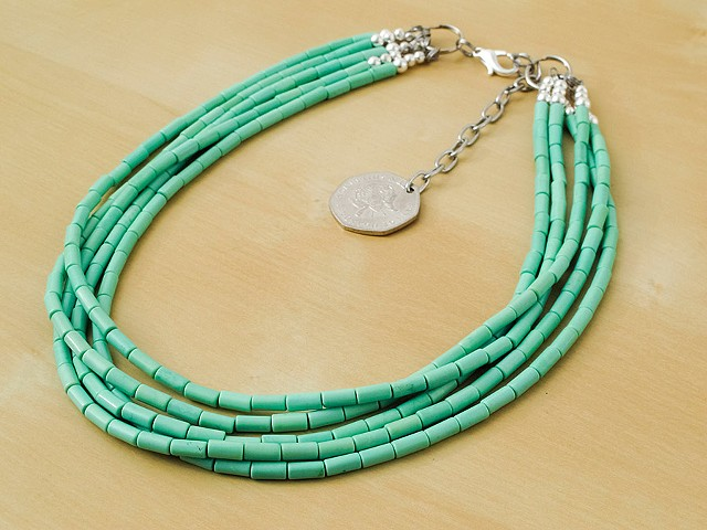 5 Strand Mint Green Chalk Turquoise