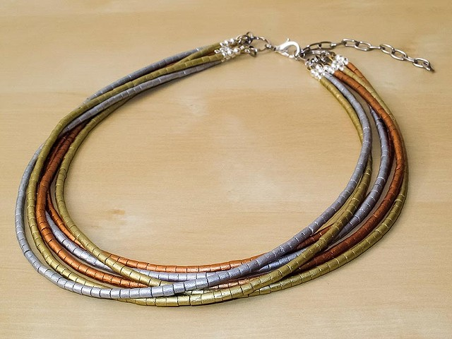 Gold, Silver & Copper Painted Wood Necklace - 6 Strands