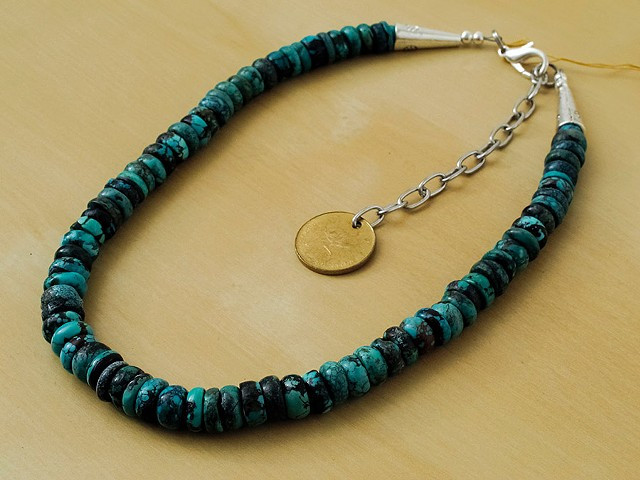 Turquoise with Pewter Cones
