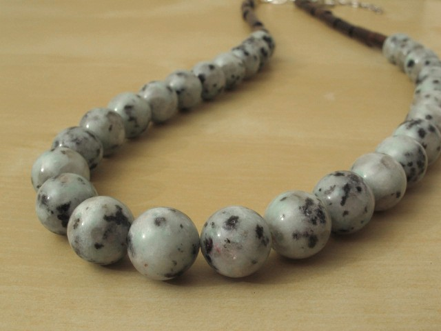 Sesame Jasper Necklace with Wood Beads