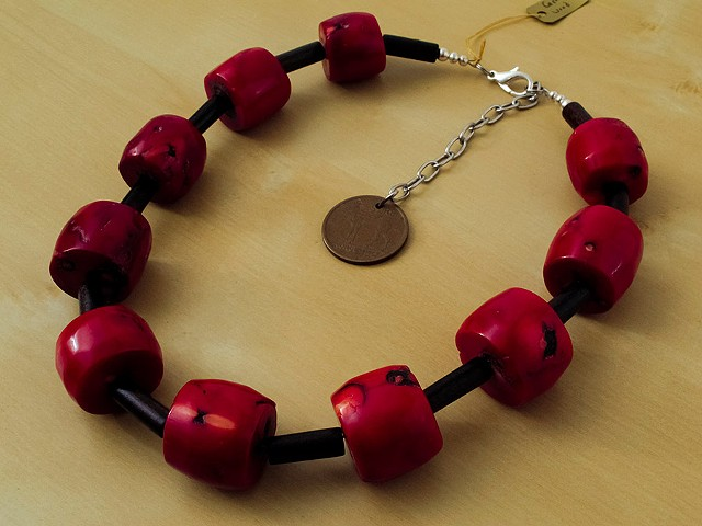 Red Bamboo Coral Barrels with Wood Beads