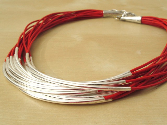 Red Leather Cord Necklace with Silver-Plated Tubes - 16 Strands
