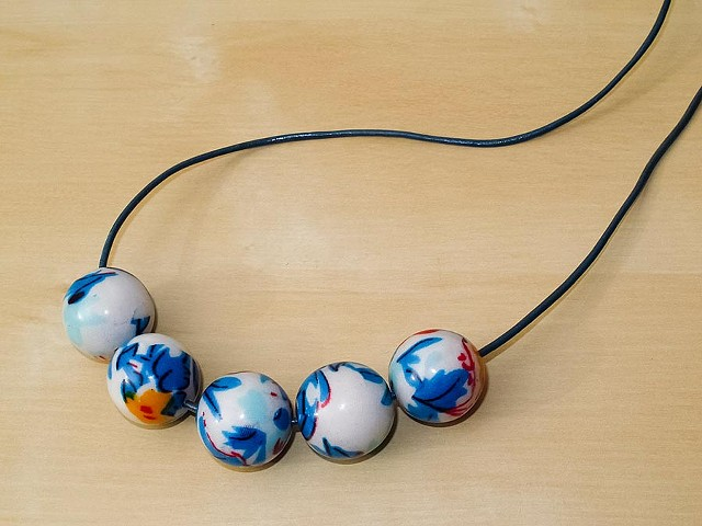 Fabric Covered Wood Beads on Blue Leather Cord