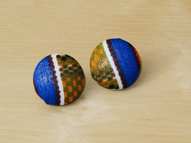 Kente Cloth Covered Button Earring