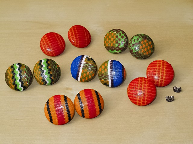 Kente Cloth Covered Button Earrings
