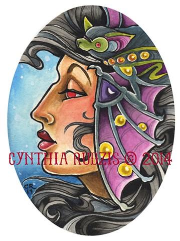 giclee, original, ink, watercolor, coquette, bat, lady head, art nouveau, painting, illustration, print