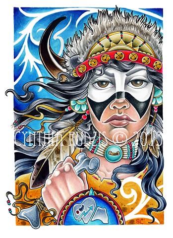 native american,  art,  white buffalo woman, illustration by cynthia rudzis