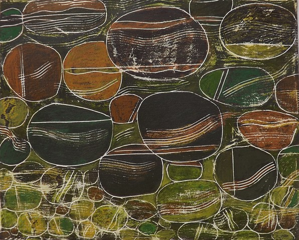 small artworks, abstract painting, mixed medium, modern art, pebbles,riverbeds, stream