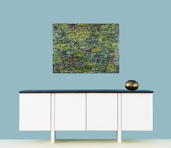 Original minimalist abstract landscape painting