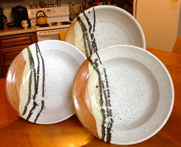 Set of 3 Nesting Dishes, 1 platter, 1 medium shallow bowl, 1 medium tall bowl
