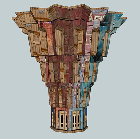 Photo-collage sculpture using worksite textures from XInjiang, China.