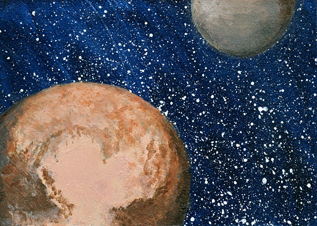 space, astronomy, planets, pluto, charon, sciart, painting, science, solar system, dwarf planet