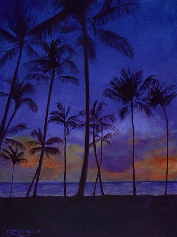 art, paintings, contemporary, vivid, tropical, sunset, palm trees, hawaii, relaxing, colorful