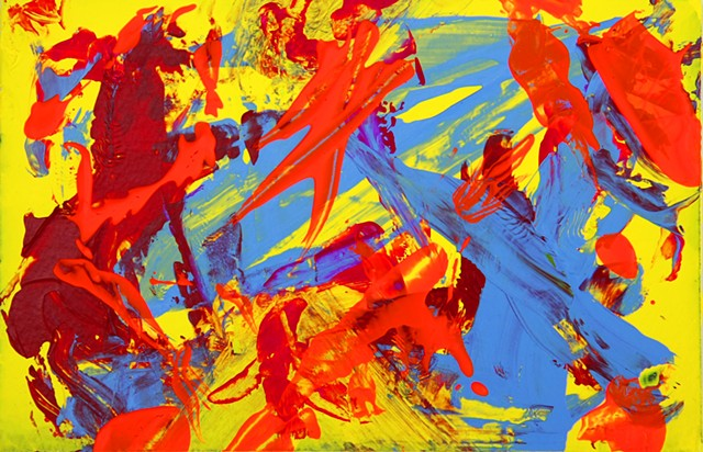 art, painting, abstract, contemporary, modern, edgy, energy, awake, bold, yellow, orange, neon, blue, colorful, energizing