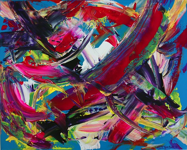 art, painting, acrylic, abstract, modern, contemporary, blue, pink, magenta, bold