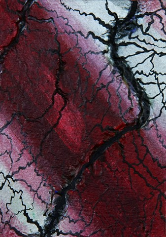 art, networks, acrylic, painting, contemporary, abstract, science art, sci-art, blood vessels, biology