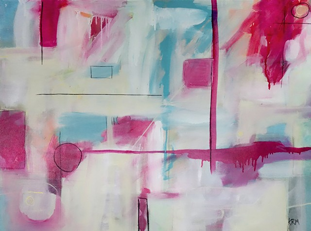 pink abstract painting, interior design, large painting, abstract painting, wyoming artist, kelsey mcdonnell, pink painting