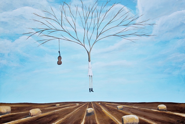 hay bail painting, blue sky and farm painting, artist from Wyoming, tree painting