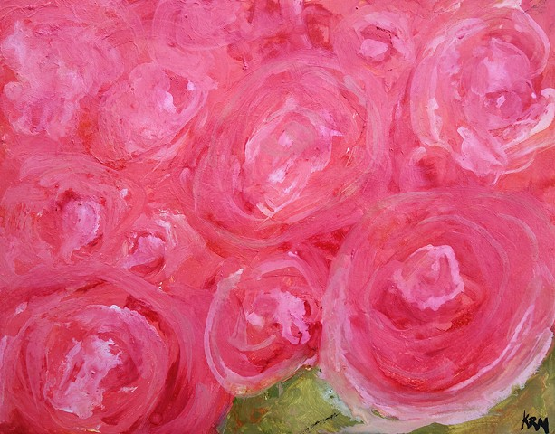 pink flower painting, abstract flower painting, wyoming, montana artist, kelsey mcdonnell