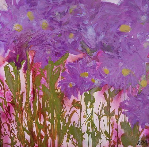 purple flower painting, wyoming wildflower, wildflower art, abstract art, artist, contemporary western art