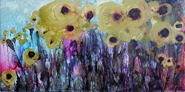 abstract sunflower painting, painting, western art, wyoming, art, artist, flowers, contemporary western art, wyoming art, monana artist, flower painting, floral design
