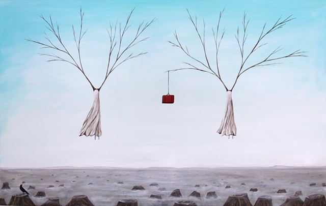 woman and trees, tree stump painting, red suitcase art, crow on stump, survival