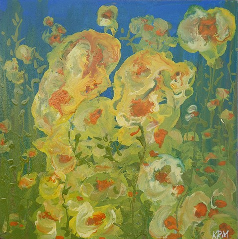 blue yellow flower painting, wyoming artist, resistance art