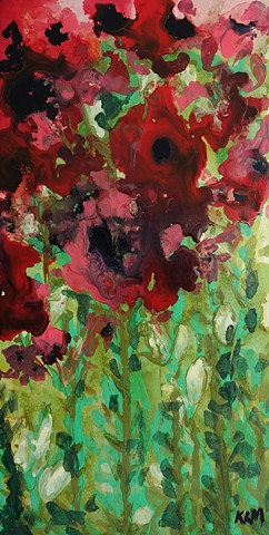 red abstract painting, red flower painting, wyoming artist, modern art, feminist artist, red flowers