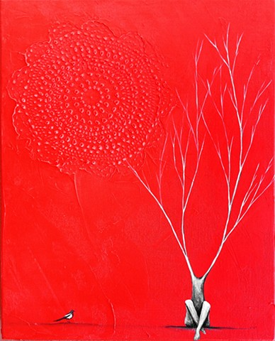red painting, red tree painting, magpie art, magpie