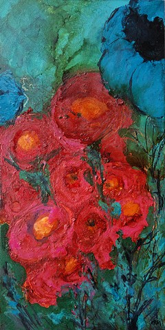 four years of flowers, wyoming artist, flower painting, abstract flower painting, wyoming