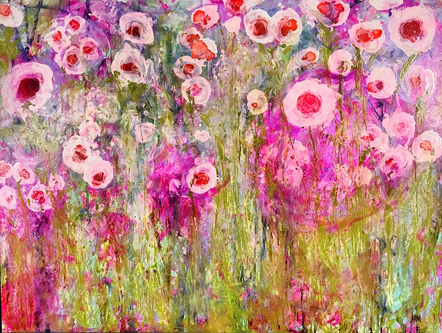 resistance art, emerging artist, feminist art, impressionistic painting, modern impressionism, kelsey mcdonnell, four years of flowers, yellow flower painting, pink flower painting, wyoming artist, wyoming art