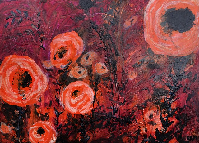contemporary art, abstract flowers, wyoming artist, kelsey mcdonnell, orange poppy flowers painting, wyoming art