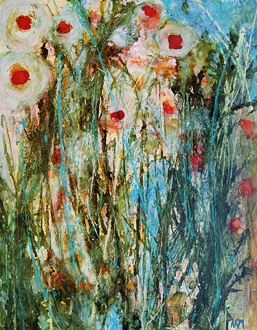 green grass painting, flower painting, wyoming wildflower, wildflower art, abstract art, artist, contemporary western art
