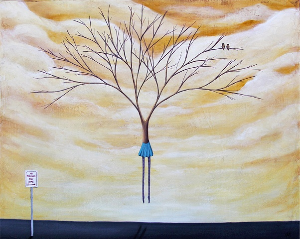 krm artist, tree painting with woman, western artist, parking lot painting, no parking sigh, owl painting, painting of owl