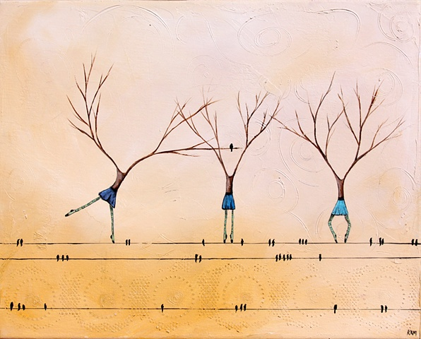 three graces, birds on a wire, trees that look like women, yellow painting