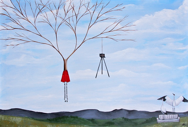 the backcountry, crane paintng, woman and tree art