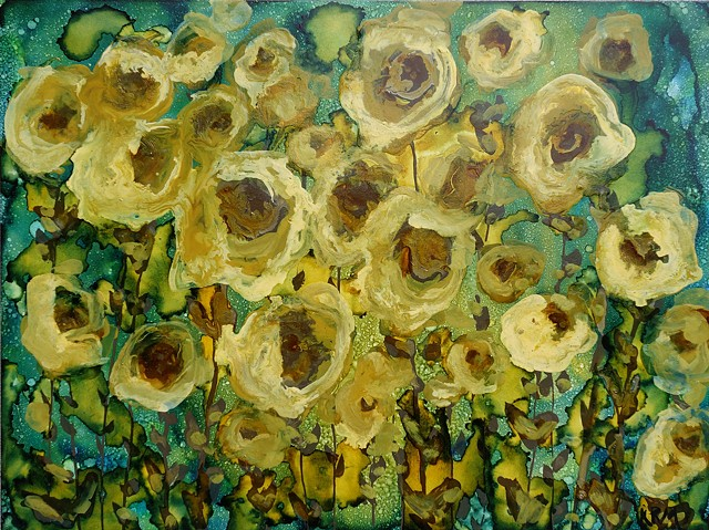 abstract sunflower painting, painting, western art, wyoming, art, artist, flowers