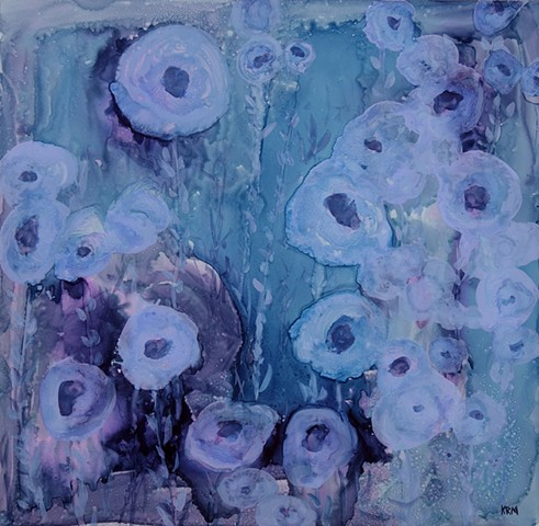 four years of flowers, wyoming artist, flower painting, abstract flower painting, wyoming, flowers at night