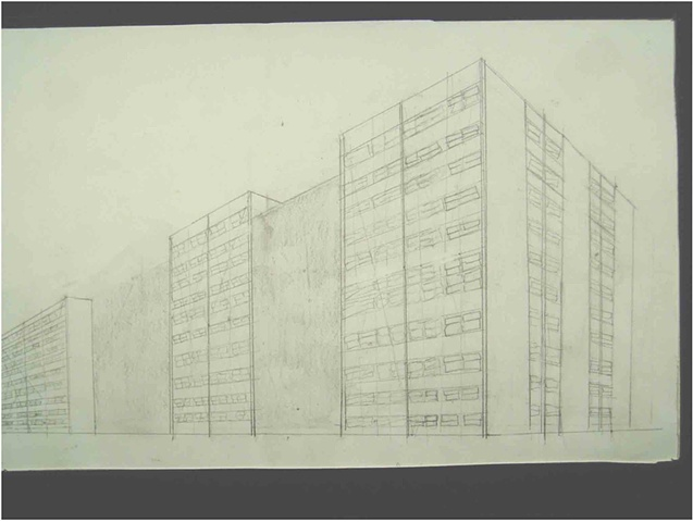Perpsective drawings of torn-down CHA high-rises, plans for new apartments