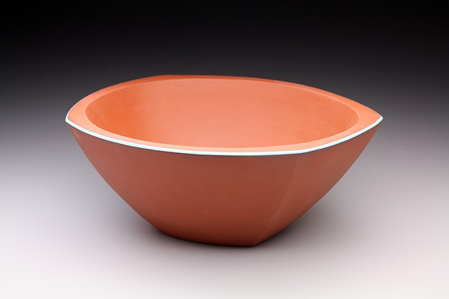 """Large Blue Rim Serving Bowl"""
