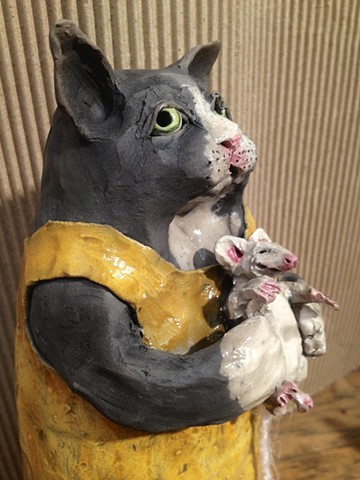 "14"" raku ceramic cat with mouse - lisa schumaier"