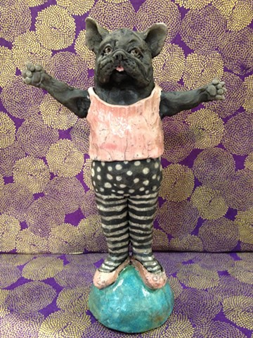 raku ceramic dancing french bulldog - lisa schumaier