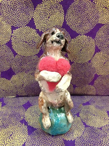 raku beagle with needle felted wool heart - lisa schumaier