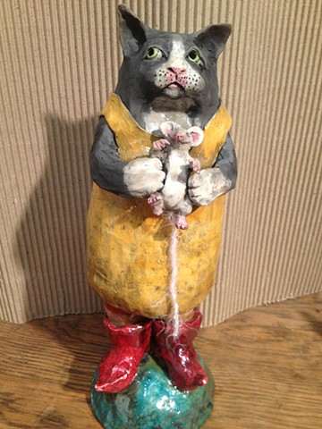 raku cat in yellow dress with mouse.jpg