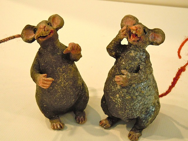 raku rat friends with creepy wire and fiber tails